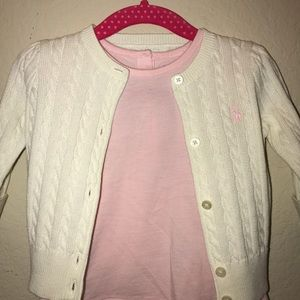 NEW Ralph Lauren Cardigan & Pink Ralph Lauren top.